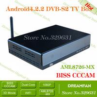 Android4.2.2 DVB-S2 TV Box Settop box WiFi 1080P HDMI stick with AML8726-MX Dualcore Cortex A9+RAM1GB+ROM4GB+CCCAM Free shipping