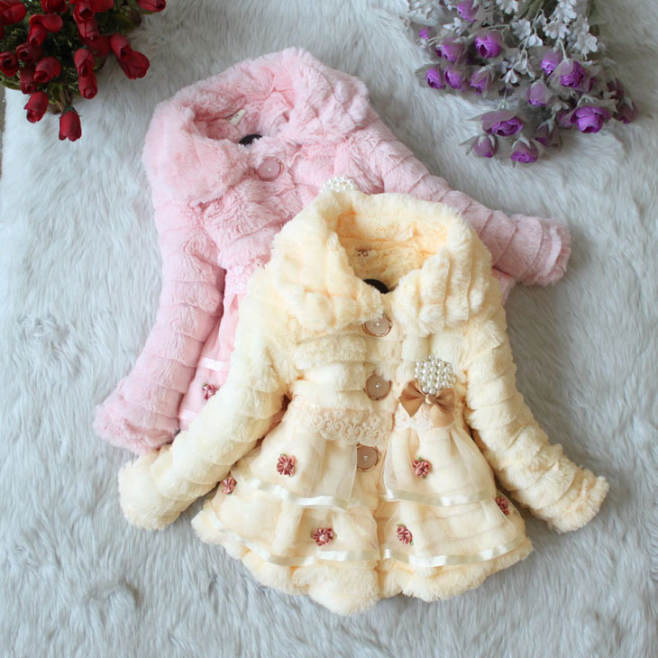 High quality 1 pcs Winter Autumn Flower Lace Baby Outerwear Clothes Girls Jacket Children Coat(China (Mainland))