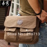 Men Brown Canvas Bag Coffee Vintage Messenger Bags Free Shipping