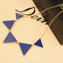 Free shipping 10 Mix order 2013 New Fashion Punk Pink Green Blue Oil Triangle Multicolour Necklace