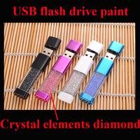 Wholesale 2015 New Woman/Girl Gift Crystal elements diamond 64GB 8GB 16GB 32GB USB 2.0 memory flash stick pen drive Paint gift