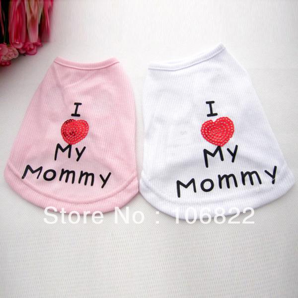 Pet Dog Clothes Love Heart Vest Summer Apparel Costume Shirt S/M/L/XL/XXL LX0081 Free shipping&DropShipping(China (Mainland))