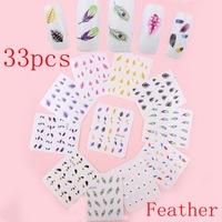 33 Sheets Feather Nail wraps Water Transfer Stickers Decals Peacock Feather Salon Quality