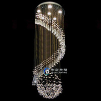 2014 new whole sale price Free shipping Dia500*H1300 round contemporary crystal chandelier long stair lights