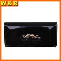 Candy color designer patent PU mustache woman wallet