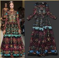 2014 Autumn Winter New Fashion Runway European Elegant Long Sleeve Big Brand Slim Long Vintage Print Evening Dresses