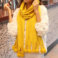 5779 Min order $10 (mix order) free shipping 2013 Autumn and winter lady solid sweet scarf ball wool thick warm shawl 10 colors