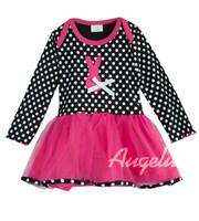 HB287 New fashion baby dress, girl dress,cute rabbit white dots full sleeve kids dress, little lady children dress,Honey Baby
