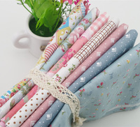 High quality 40x50cm 7pcs/lot rural floral patchwork fabric cotton home textile sewing material for craft toy purse Pink Blue