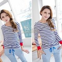 Autumn Women's Casual Round Neck Long Sleeve Blue White Stripe T-Shirt Cotton Blends Tops 18937