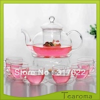 Free Shipping 800ml  High Temperature Resistant Glass Tea Pot With 4pcs Tea Cups and Plates  100% Good Quality Tea Sets New