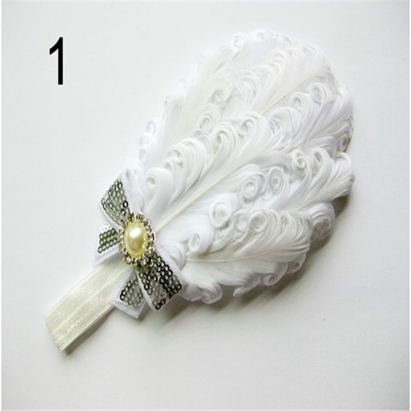 12 Styles Baby Girl Feather Headband Baby Fashion Hair Band Girl Head Accessories Baby Photography Props(China (Mainland))