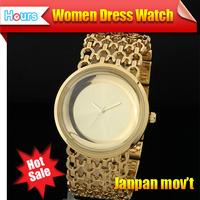 New Fashion 2014 Steel Bracelet Dress Watches Waterproof Relogios Gold Chains Big Dial Women Luxury Brand Watch With Rhinestones