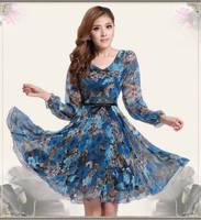Free Shipping Plus Size Women Clothing Ruffles Dresses New Fashion 2014 Autumn -Summer Casual Print Knee-Length Chiffon Dress