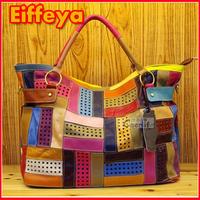 New Fashion OL Commuter Colorful Leather Shoulder Bags Handbag Tote Satchel Designer Brand