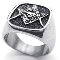 Topearl Jewelry 3pcs Stunning Stainless Steel Masonic Freemasonry Skull Ring MER05-06