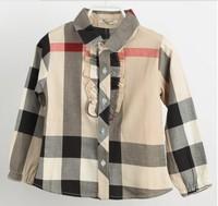 2-6yrs Girls Kids shirt  Long short sleeved New 2014 Spring Autumn Children's Checked Shirt Girls plaid shirt L015/873