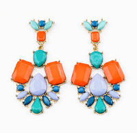 BigBing  Fashion jewelry  fashion accessories gold plated multicolour national trend crystal stud earring  N1023