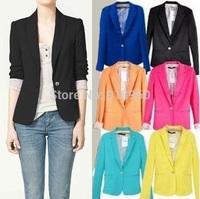 black blazer women desigual one button candy colored pure leisure jacket coat,blazer colorido blazer mulheres  preto blaizer,WTl
