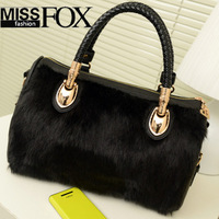 2013 New Winter Women handbag Elegant Designer Message Tote Bags All-match Casual shoulder bag Plush Fur Leather Bucket Handbag