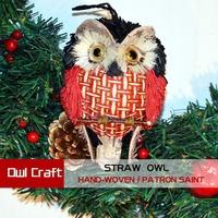 Exclusive Patron saint folk arts straw crafts class pendant owl present door hanging decoration hand-woven nighthawk hathaway