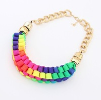 Min.order is $15 (mix order) European and American fluorescence color weave short necklace