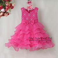 2015 New New Fashion Girl Dress rose Princess Party girl layered Dresses Fashion Kids Wear