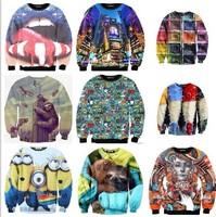 2014 New Women Men Animals Leopard cartoon Rihanna/Tupac print Pullover 3D Sweatshirts Hoodies floral Galaxy sweaters Tops