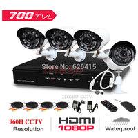 4CH 960H Home Security System Surveillance 1080P HDMI DVR 4PCS 700TVL IR Outdoor Weatherproof CCTV Camera 24 LEDs IR-CUT Kits