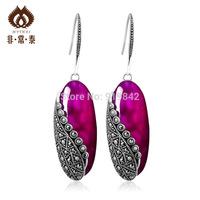 Long design  925 silver red corundum royal vintage female mark race    sterling silver brand accessories Drop Earrings