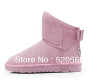 2013 sweet bow platform snow boots winter boots cowhide flat genuine leather boots cotton-padded shoes