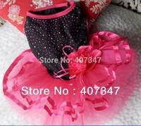 Free Shipping  wholesale 12 pcs  shiny wedding Dog dress with big flower 4 sizes available