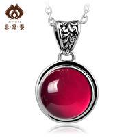 Free shipping 925 pure silver pendants accessories cutout red corundum fashion pendant women's 11  necklaces & pendants