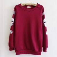 [Magic] 2013 winter new style big skull sleeve Rivet cotton hoodie women sweatshirts fleece warm hoodies 4 color free shipping