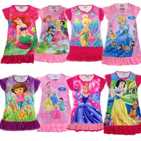 2014 new Princess girl's nightgown cartoon princess dress wholesale  children's dresses size S M L XL to choose