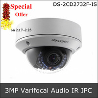 DS-2CD2732F-IS Hikvision IPC 3Megapixel Vandal-Proof 2.8~12mm Varifocal lens, can support Audio In/Out