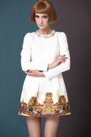 2014 spring and winter fashion handmade beading thickening cotton cloth printed long-sleeve dress