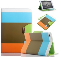(3pcs/set =1case+1stylus+1screen protector) Hybrid Color Magnetic Wallet PU Leather Smart Cover Case for iPad mini Wake / Sleep