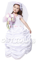 Free Shipping little girls New Sweet Wedding Gown Children Cosplay Costumes,Evening Dresses for Kids Girl Retail