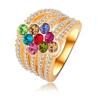 Hot Selling Noble Graceful 18K Gold Plated Wedding Rings Austrian Crystals Engagement Ring Women Accessories Gift Jewelry RIN089