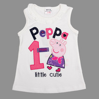 FREE SHIPPING N4532 5pieces/lot peppa pig T-shit for little cutie summer short sleeve T-shirt for baby girl