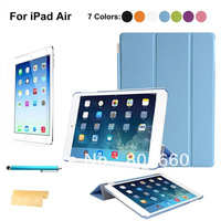 4-in-1 Ultra-thin Smart PU Cover Case & Screen Guard & Stylus Pen & Cloth Set for iPad Air /iPad 5