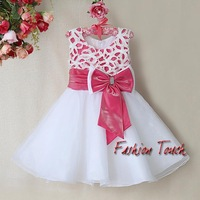 2014 New Year Infant Party Dresses For Girls Pink And White Princess Christmas Dress With Big Bow Fashion Design Baby Wear