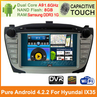 100% Pure Android 4.2 Car Audio Player for Hyundai IX35 Android GPS Navigation Navi System DVD Stereo Video Capacitive Screen