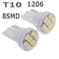 100pcs/lot Wholesale white 1206/3020 smd T10 8 smd 8smd 8led led 194 168 192 W5W super bright Auto led car lighting wedge#f3e82
