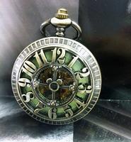 Big Arabic Number Hollow Cross Design Vintage Cut-out Bronze Mechanical Pocket Watch