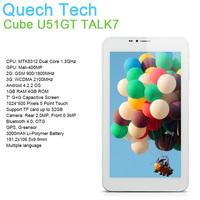 "7"" 3G WCDMA SIM Slot Tablet Phone Call CUBE TALK 7X U51GT W MTK8312 Dual Core Android 4.2 OS GPS 1GB DDR3 16GB ROM Free Shipping"