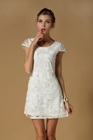 Free Shipping, fashion short sleeve lace dresses new fashion 2014 lace pearl evening dress party,  elegant white dress BY701ES
