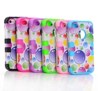 Free shipping 3-Piece Hybrid Combo Rugged Rubber Matte Hard Case Cover For iPhone 4 4S 4G C402