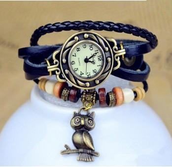 New 7Colors Original High Quality Women Genuine Leather Vintage Watch, Owl / Christmas trees / Christmas Snowflake Pendant(China (Mainland))